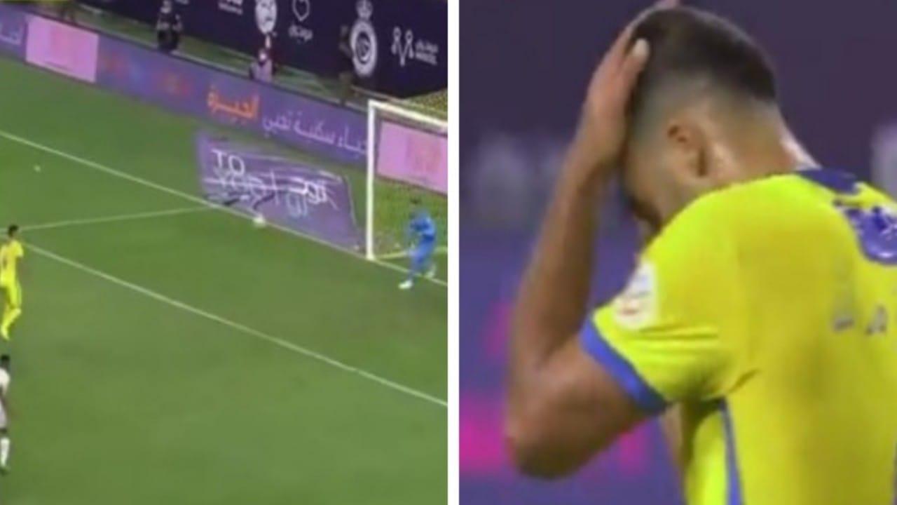 """شاهد.. ركلة جزاء """"حمدالله"""" الضائعة في مباراة النصر والاتحاد"""