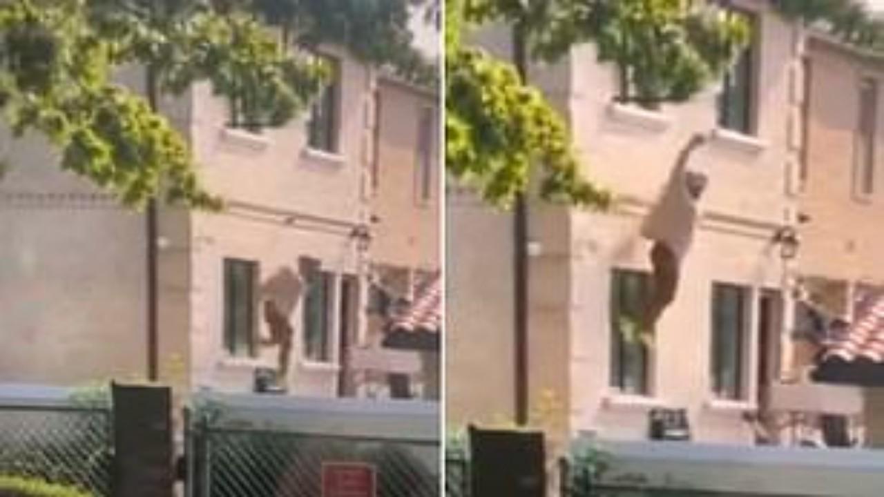 بالفيديو.. امرأة تلقي بنفسها من الطابق الثاني بعد اتهام زوجها لها بالخيانة