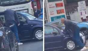 شاهد.. شخص يهدد قائد سيارة بالسكين في محطة وقود لسبب غريب