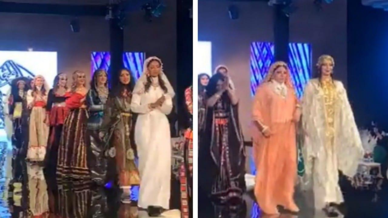 شاهد.. ريم عبدالله ترتدي ثوب العروس النجدية في عرض أزياء تراثي بالرياض