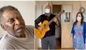 """""""بيليه"""" يغني نشيد البرازيل احتفالاً بمغادرة المشفى"""