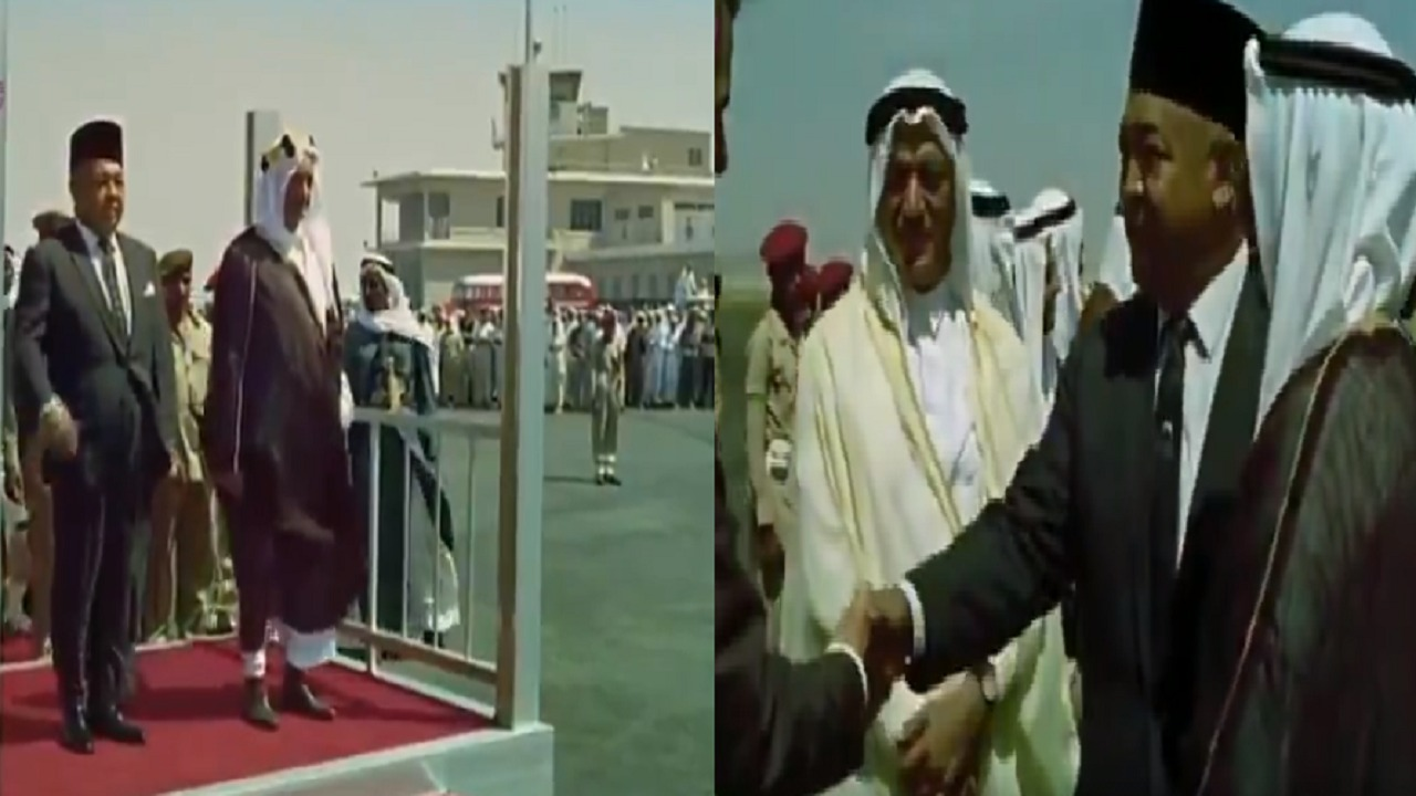 فيديو نادر للملك فيصل أثناء استقباله ملك ماليزيا في مطار جدة