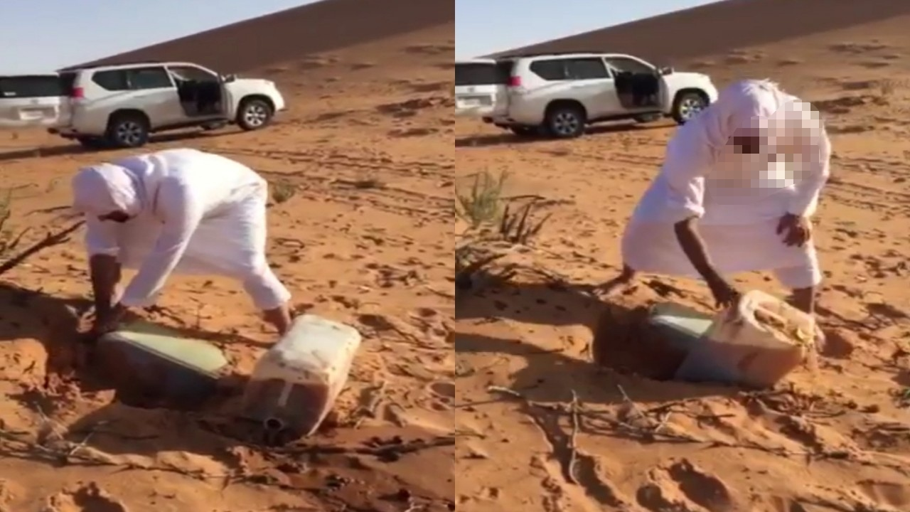 بالفيديو.. لحظة استخراج مواطن لجالونين خمر مدفونة في البر