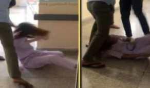 شاهد.. شاب يعتدي بالضرب والركل على ممرضة داخل مستشفى