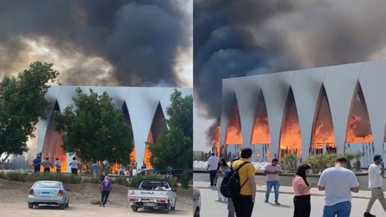 بالفيديو.. حريق هائل داخل قاعة مهرجان الجونة قبل يوم من انطلاقه