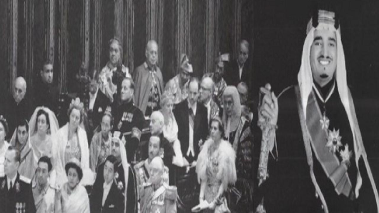 صورة نادرة للملك فهد بالزي الرسمي في حفل تتويج الملكة إليزابيث الثانية