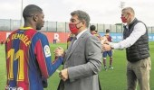 """وكيل أعمال """"ديمبلي"""" يمنع تجديد تعاقده مع برشلونة"""