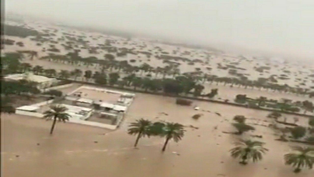 شاهد.. تصوير جوي لتأثير الإعصار شاهين على ولاية الخابور العمانية