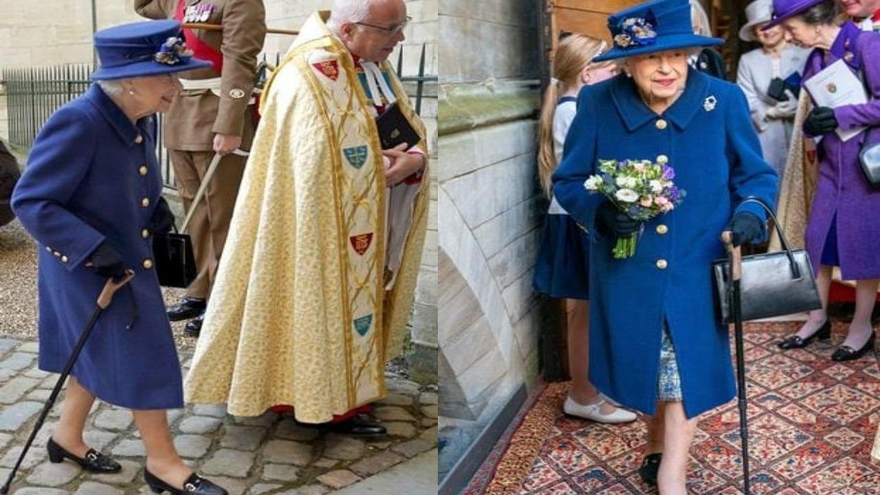 الملكة إليزابيت تتكىء على عصا لأول مرة