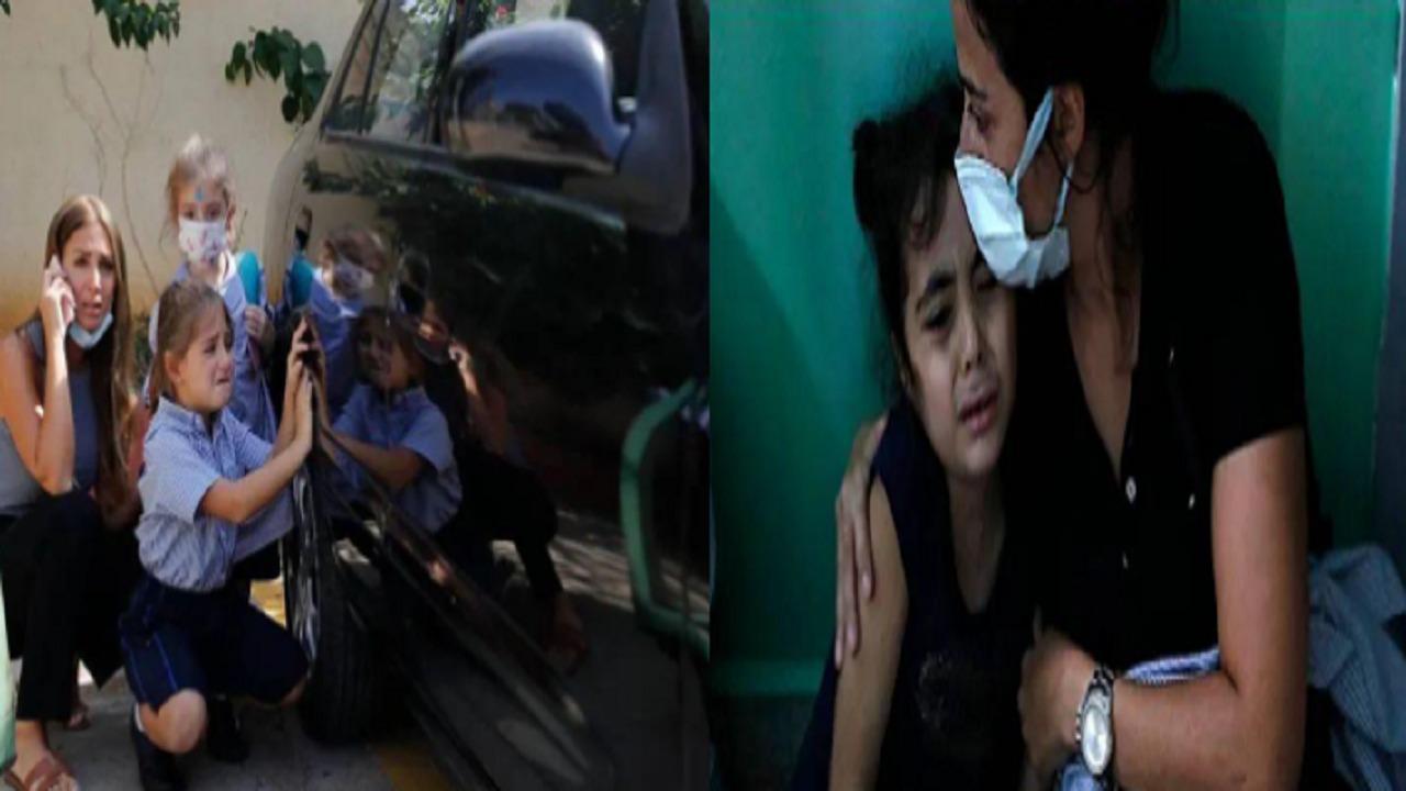 بالصور.. أطفال لبنان يحتمون بالسيارات خوفًا من إطلاق النار
