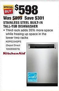 Home Depot Black Friday KitchenAid Stainless Steel Built