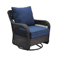 Wicker Swivel Patio Chair Gym Equipment Captains Lowe S Has Allen Roth Glenlee Brown Glider With Blue Cushion 100 At