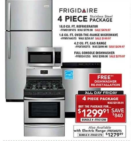 4 piece stainless steel kitchen package dash pc richard son black friday frigidaire appliance for 1 299 91