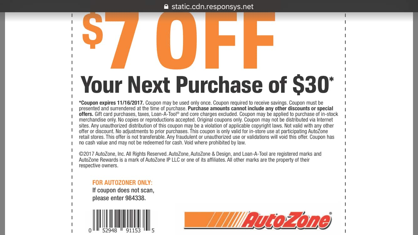 AutoZone  Coupon 7 off 30  2500 Off 100 Expires 11162017  Slickdealsnet