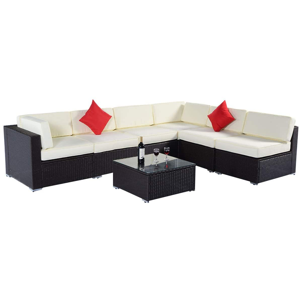 sectional sofa deals free shipping tara 53 bed costway 7pc wicker patio set 529 99 a c