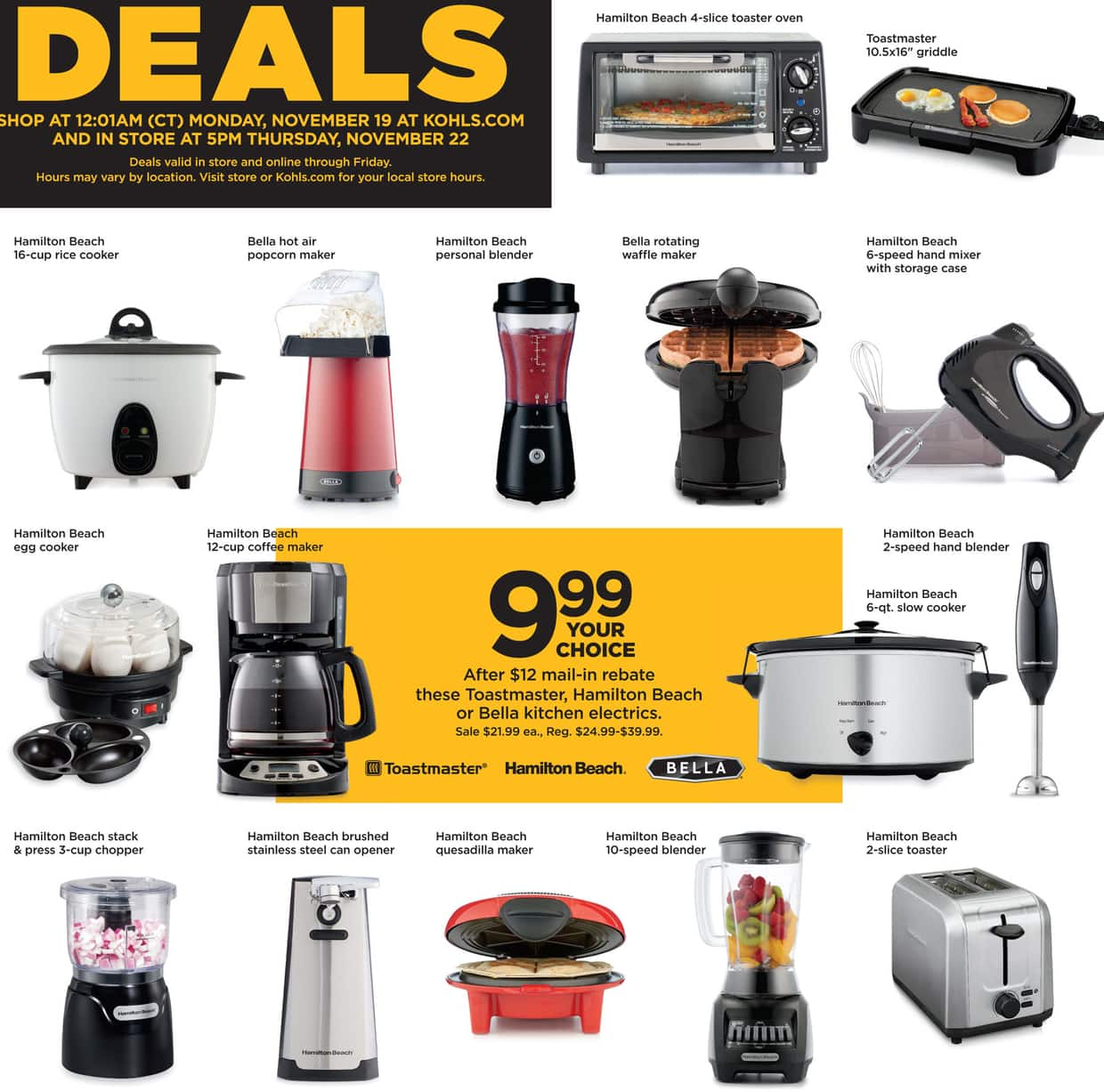bella kitchen aid pro 600 kohl s black friday select toastmaster hamilton beach or electrics for 9 99 after 12 00 rebate