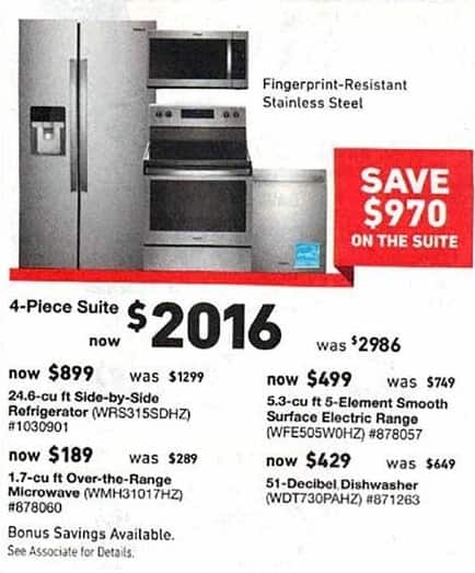 lowes kitchen appliances sink drain plumbing lowe s black friday whirlpool 4 piece suite refrigerator dishwasher range and microwave for 2 016 00