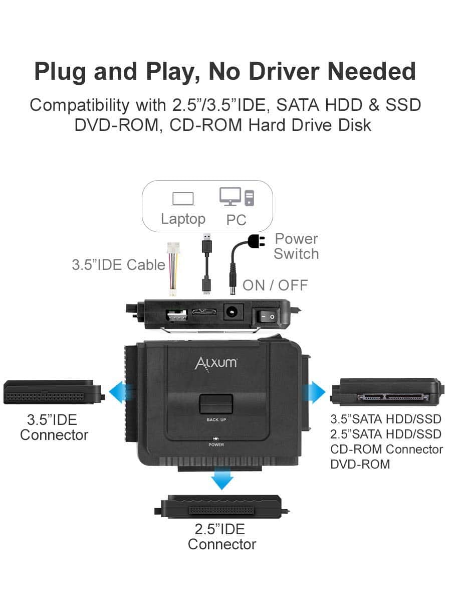 medium resolution of alxum usb 3 0 to ide sata converter for universal 2 5 3 5 sata hdd sdd ide hdd drives hard drive adapter with 12v 2a power adapter usb 3 0 cable