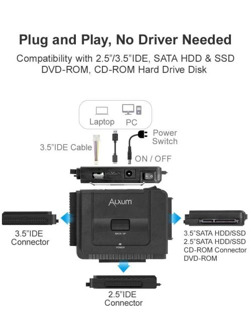 small resolution of alxum usb 3 0 to ide sata converter for universal 2 5 3 5 sata hdd sdd ide hdd drives hard drive adapter with 12v 2a power adapter usb 3 0 cable