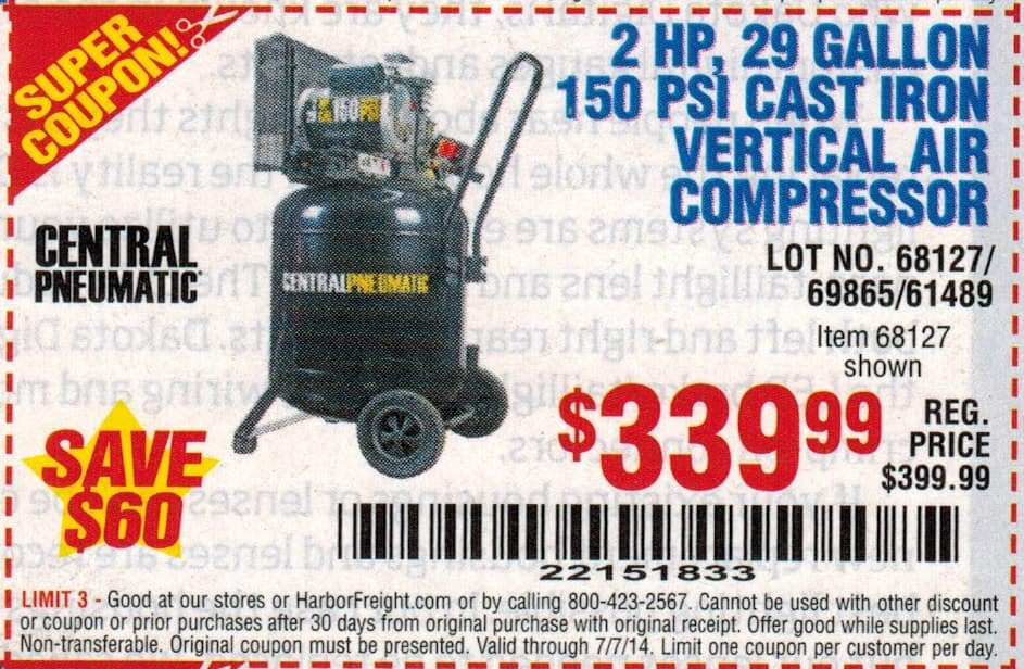 Harbor Freight Gas Air Compressor Coupon