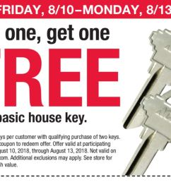 archived expired ace hardware buy 1 get 1 free ace branded house key limit 2 in store only w printable coupon valid thru 8 13 18  [ 1262 x 866 Pixel ]