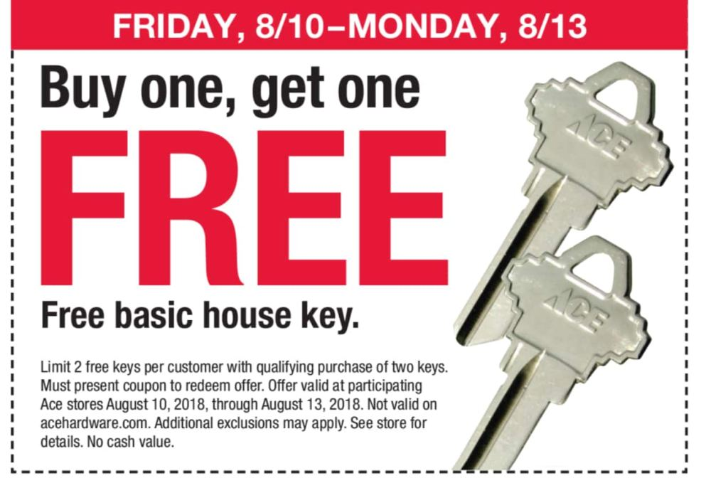 medium resolution of archived expired ace hardware buy 1 get 1 free ace branded house key limit 2 in store only w printable coupon valid thru 8 13 18