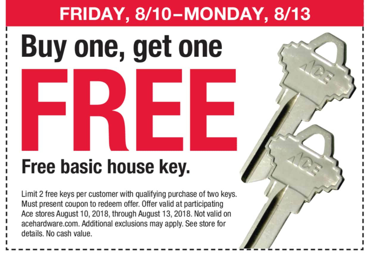 hight resolution of archived expired ace hardware buy 1 get 1 free ace branded house key limit 2 in store only w printable coupon valid thru 8 13 18