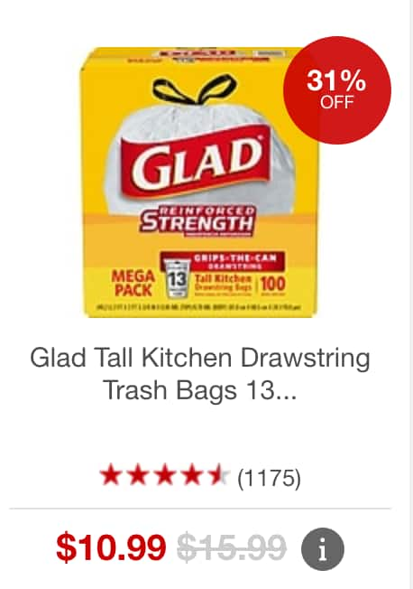 glad tall kitchen drawstring trash bags islans staples 100 count 13 gallon white 10 99 forceflex 12 w free in store pickup