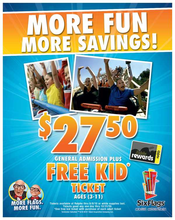 Six Flags Magic Mountain passes are 2750 with each