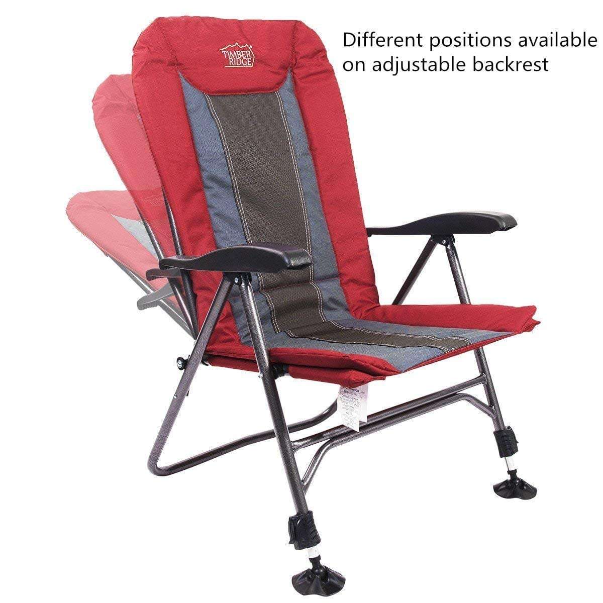fishing chair legs x rocker gaming power cable timber ridge camping folding heavy duty with adjustable reclining padded back and supports 300lbs armrest outdoor garden 79 99 fs