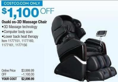 massage chair prices living room chairs under 100 costco wholesale black friday osaki os 3d for 2 899 99