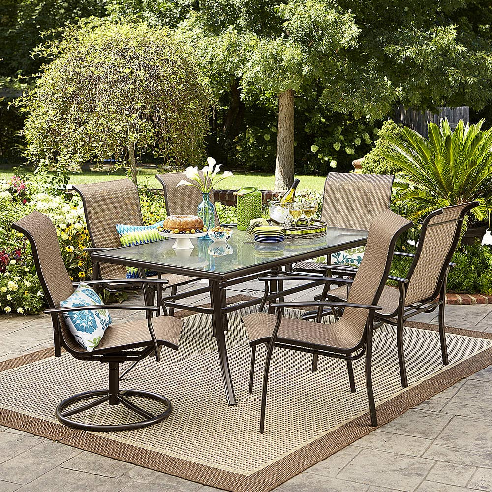 best outdoor dining chairs oversized camping chair 7 piece garden oasis harrison textured glass top set 299 99 at sears
