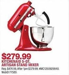 macys kitchen aid green island macy s black friday kitchenaid artisan 5 qt stand mixer for 279 99