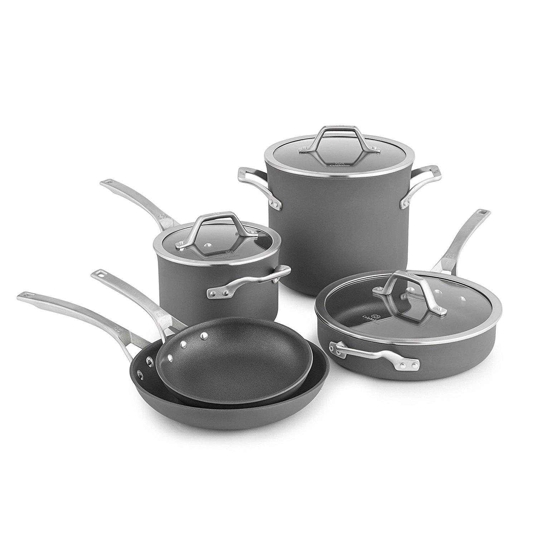calphalon kitchen essentials portable island with granite top 8 piece signature hard anodized nonstick