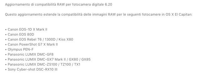 Apple rilascia un nuovo aggiornamento di compatibilità RAW
