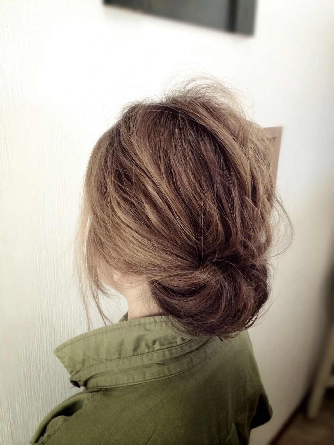 「黒髪ボブアレンジ シニヨン」の画像検索結果