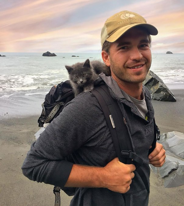 """""""One Of My Favorite Photos From Way Back When I Was A Kitten Backpacking With My Dad"""""""