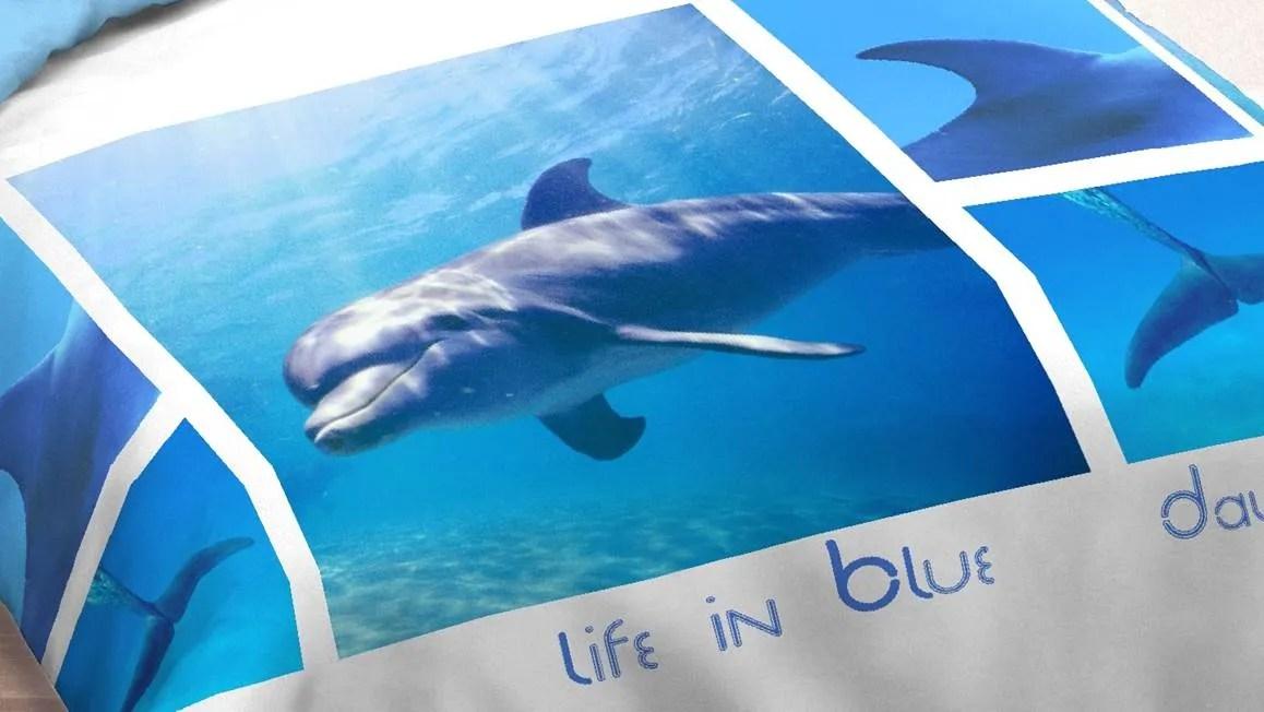 Dolphins in Action dekbedovertrek  Blauw  Smulderstextielnl