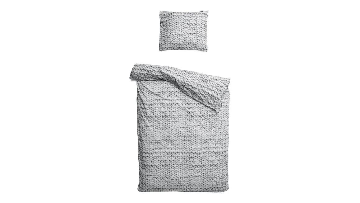 SNURK Twirre flanel dekbedovertrek  met grijs breipatroon