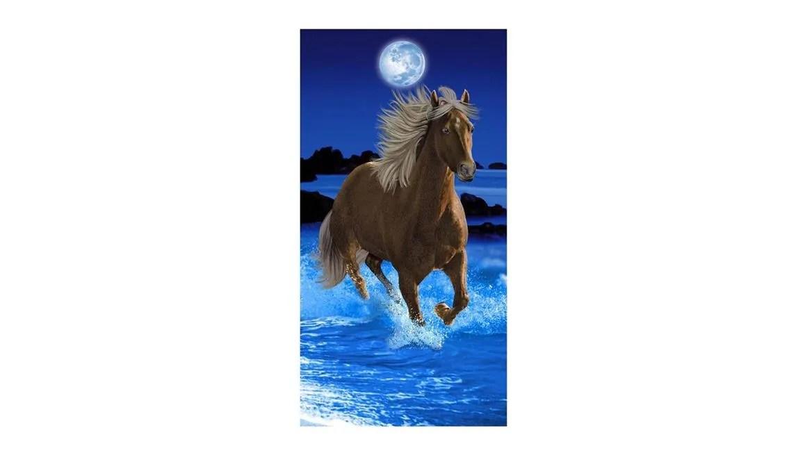 Paarden strandlaken  Blauw  Smulderstextielnl