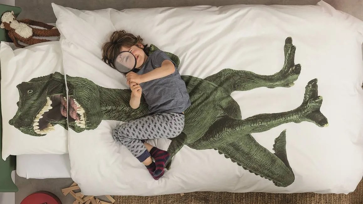 SNURK Dinosaurus Rex dekbedovertrek  witgroen