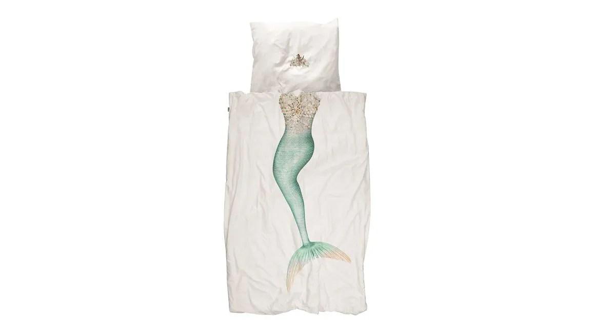 SNURK Mermaid dekbedovertrek  witgroen  Smulderstextielnl