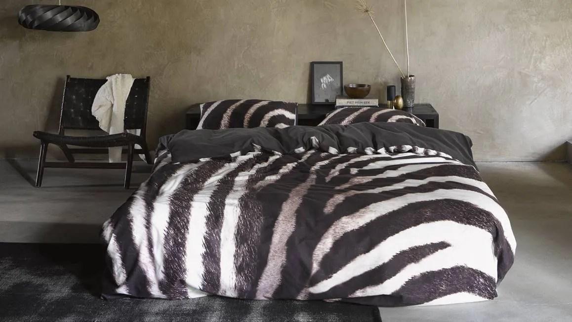 Essenza Zebra flanel dekbedovertrek  Donkerbruin