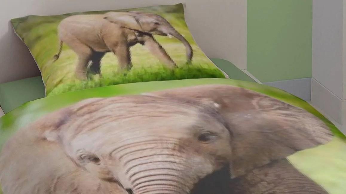 Good Morning Elephant dekbedovertrek  Multi