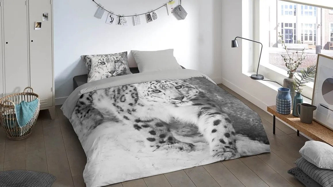 Pure Snow Leopard dekbedovertrek  Grijs  Smulderstextielnl