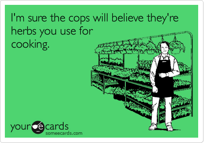Funny Encouragement Ecard: I'm sure the cops will believe they're herbs you use for cooking.