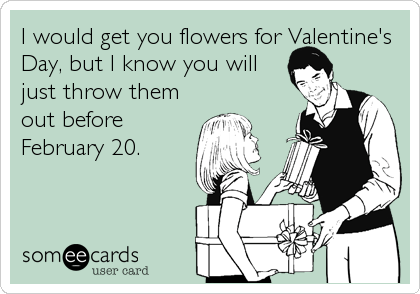 Funny Thinking of You Ecard: I would get you flowers for Valentine's Day, but I know you will just throw them out before February 20.