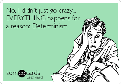 Funny Somewhat Topical Ecard: No, I didn't just go crazy... EVERYTHING happens for a reason: Determinism.