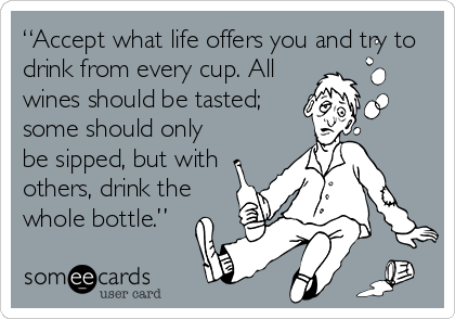 "someecards.com - ""Accept what life offers you and try to drink from every cup. All wines should be tasted; some should only be sipped, but with others, drink the whole bottle."""