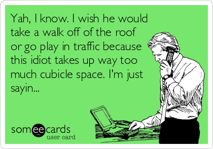 someecards.com - Yah, I know. I wish he would take a walk off of the roof or go play in traffic because this idiot takes up way too much cubicle space. I'm just sayin...